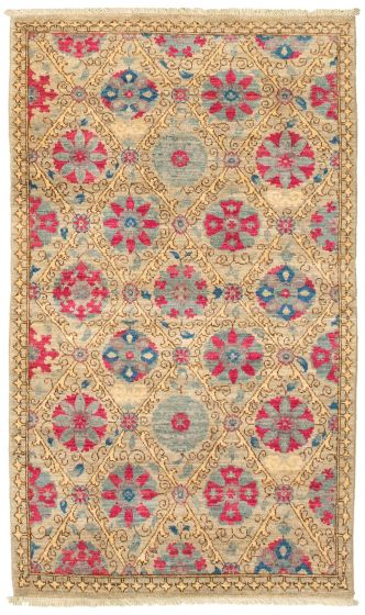 Traditional  Transitional Grey Area rug 3x5 Pakistani Hand-knotted 342117