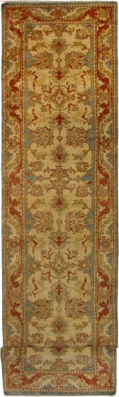 Bohemian  Traditional Ivory Runner rug 20-ft-runner Indian Hand-knotted 272311