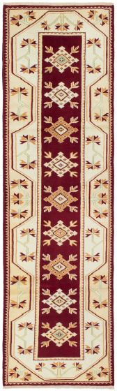 Bordered  Traditional Ivory Runner rug 9-ft-runner Turkish Hand-knotted 293722