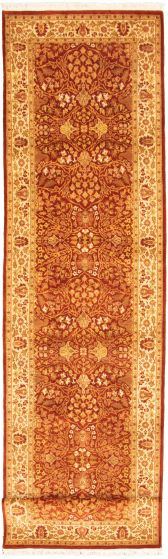 Bordered  Traditional Brown Runner rug 14-ft-runner Pakistani Hand-knotted 330314