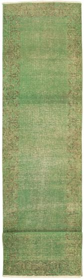 Bordered  Transitional Green Runner rug 13-ft-runner Turkish Hand-knotted 330344
