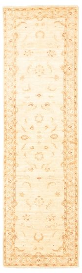 Bordered  Traditional Ivory Runner rug 9-ft-runner Pakistani Hand-knotted 331524