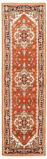 Bordered  Traditional Red Runner rug 8-ft-runner Indian Hand-knotted 344626
