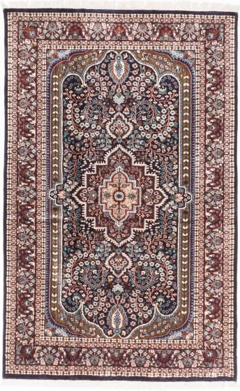 Traditional Blue Area rug 3x5 Indian Hand-knotted 193610