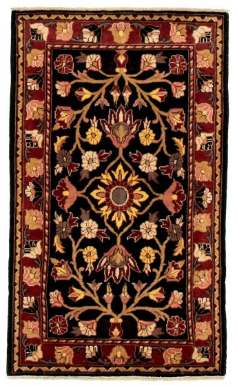 Bordered  Traditional Black Area rug 3x5 Afghan Hand-knotted 331530