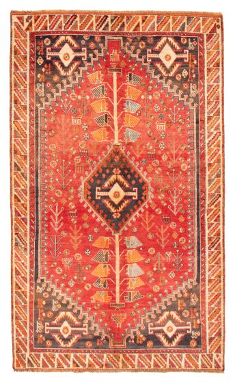 Bordered  Tribal Red Area rug 5x8 Persian Hand-knotted 358551