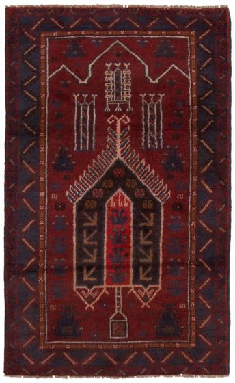 Bordered  Tribal Red Area rug 3x5 Afghan Hand-knotted 360565
