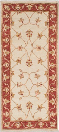 Traditional Ivory Runner rug 6-ft-runner Indian Hand-knotted 223910