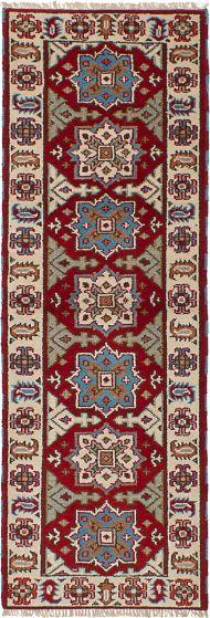 Bohemian  Geometric Red Runner rug 8-ft-runner Indian Hand-knotted 241379