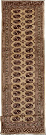 Bordered  Traditional Ivory Runner rug 13-ft-runner Pakistani Hand-knotted 279446