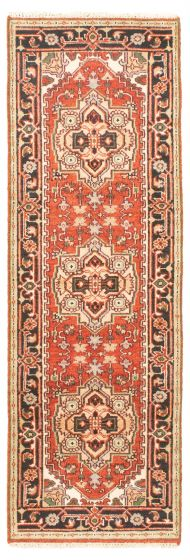 Bordered  Traditional Red Runner rug 8-ft-runner Indian Hand-knotted 344540