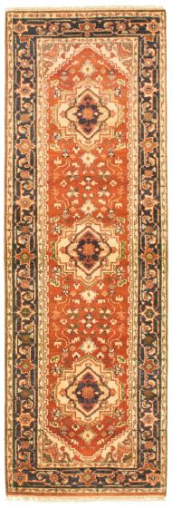 Bordered  Traditional Brown Runner rug 8-ft-runner Indian Hand-knotted 344564
