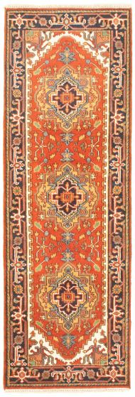 Bordered  Traditional Brown Runner rug 8-ft-runner Indian Hand-knotted 344593