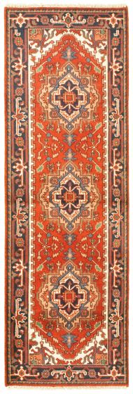 Bordered  Traditional Brown Runner rug 8-ft-runner Indian Hand-knotted 344624