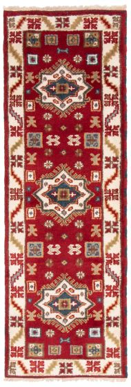 Bordered  Traditional Red Runner rug 7-ft-runner Indian Hand-knotted 363147