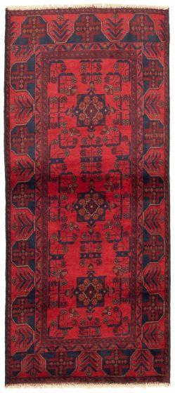 Bordered  Tribal Red Runner rug 6-ft-runner Afghan Hand-knotted 330309