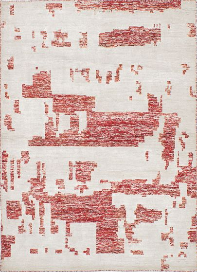 Casual Ivory Area rug 4x6 Indian Hand-knotted 222220