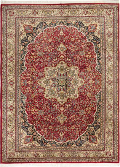 Bordered  Traditional Red Area rug 9x12 Indian Hand-knotted 280632