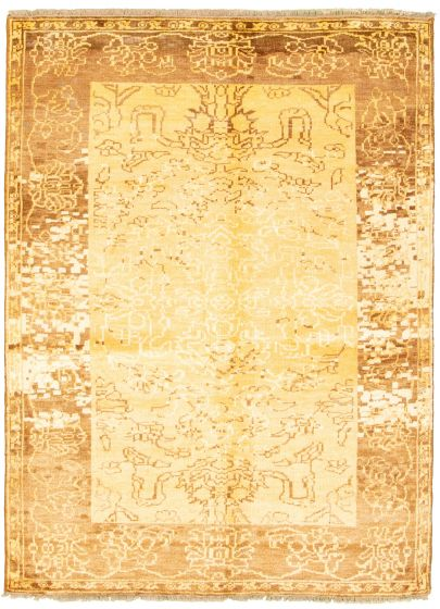 Transitional Yellow Area rug 5x8 Indian Hand-knotted 315622