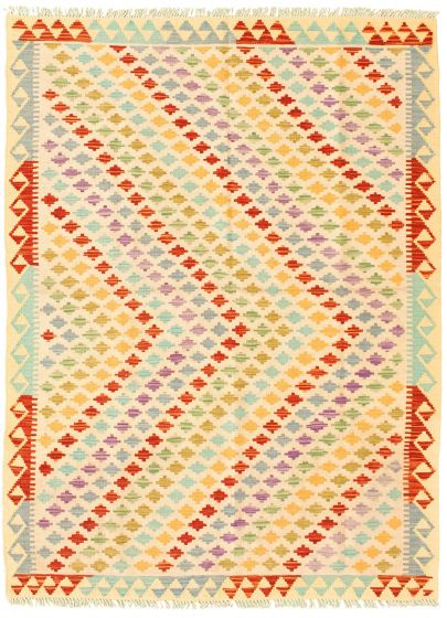 Bordered  Flat-weaves & Kilims Ivory Area rug 4x6 Turkish Flat-weave 330044