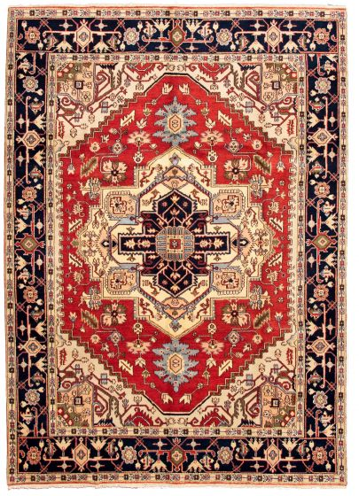 Bordered  Traditional Red Area rug 9x12 Indian Hand-knotted 331274