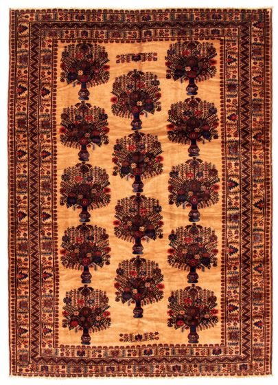 Bordered  Tribal Brown Area rug 6x9 Afghan Hand-knotted 348517