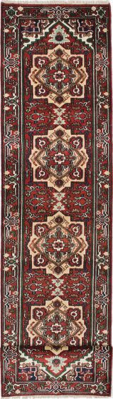 Floral  Traditional Red Runner rug 16-ft-runner Indian Hand-knotted 220626