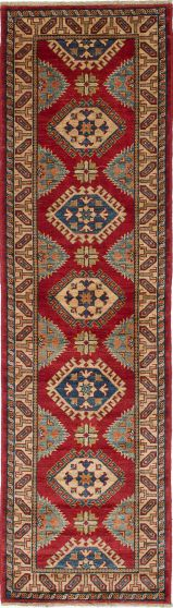 Geometric  Traditional Red Runner rug 10-ft-runner Afghan Hand-knotted 221240