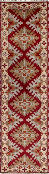 Traditional Red Runner rug 10-ft-runner Indian Hand-knotted 233326