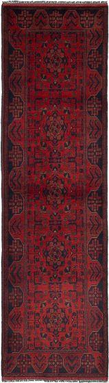 Geometric  Tribal Red Runner rug 10-ft-runner Afghan Hand-knotted 235936