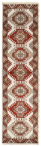 Bordered  Traditional Red Runner rug 10-ft-runner Indian Hand-knotted 314324