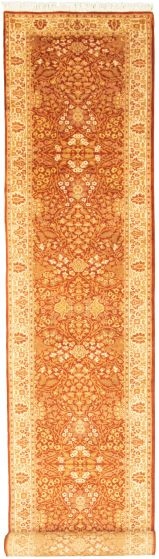 Bordered  Traditional Brown Runner rug 19-ft-runner Pakistani Hand-knotted 330324