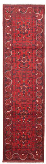 Bordered  Traditional Red Runner rug 10-ft-runner Afghan Hand-knotted 342332