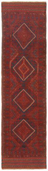 Bordered  Tribal Red Runner rug 8-ft-runner Afghan Hand-knotted 342456