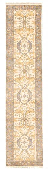 Bordered  Traditional Ivory Runner rug 12-ft-runner Indian Hand-knotted 345276