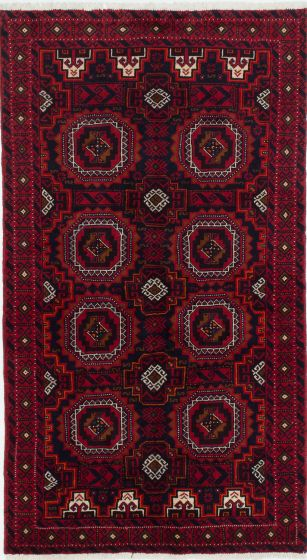 Traditional  Tribal Red Area rug 3x5 Persian Hand-knotted 210364