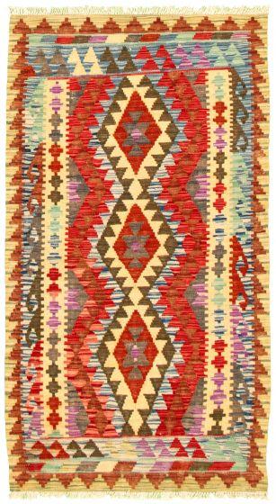 Bordered  Geometric Red Area rug 3x5 Turkish Flat-weave 330197
