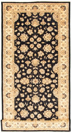 Bordered  Traditional Black Runner rug 15-ft-runner Indian Hand-knotted 330330