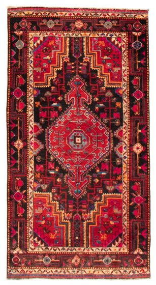 Bordered  Vintage Black Area rug 3x5 Persian Hand-knotted 367092