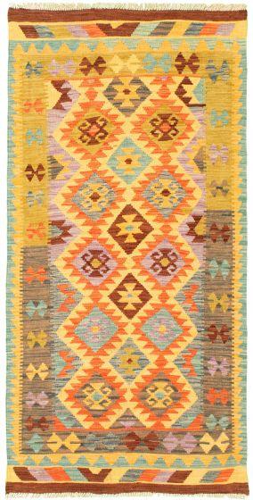 Bordered  Geometric Multi Area rug Unique Turkish Flat-weave 330007