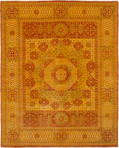 Bordered  Traditional Brown Area rug 6x9 Indian Hand-knotted 272324