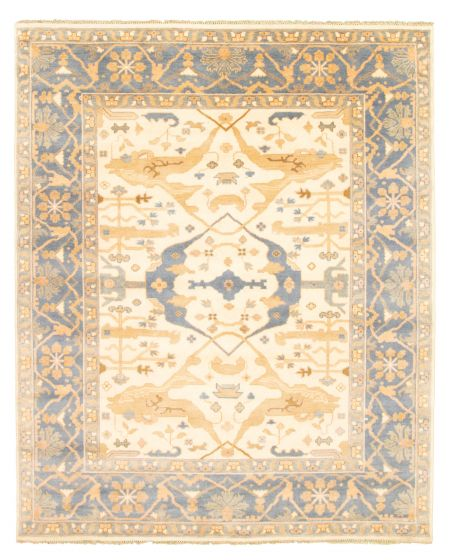 Bordered  Traditional Ivory Area rug 6x9 Indian Hand-knotted 344821