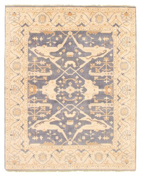 Bordered  Traditional Blue Area rug 6x9 Indian Hand-knotted 344822