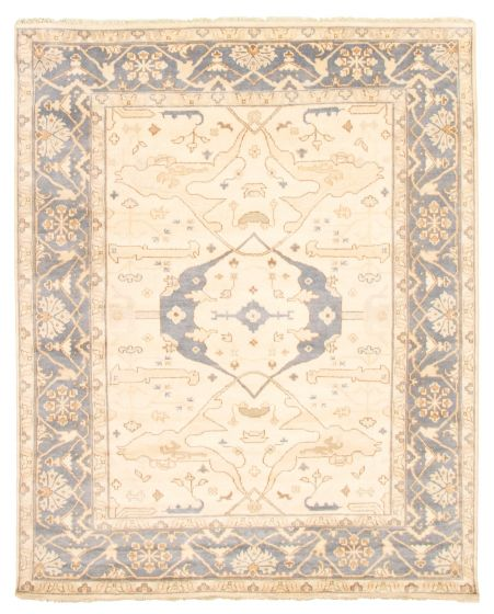 Bordered  Traditional Ivory Area rug 6x9 Indian Hand-knotted 344828
