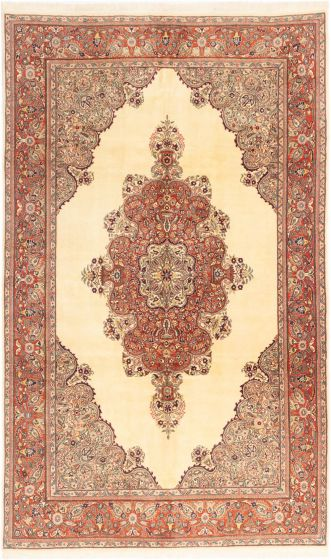 Bordered  Traditional Ivory Area rug 8x10 Turkish Hand-knotted 281068
