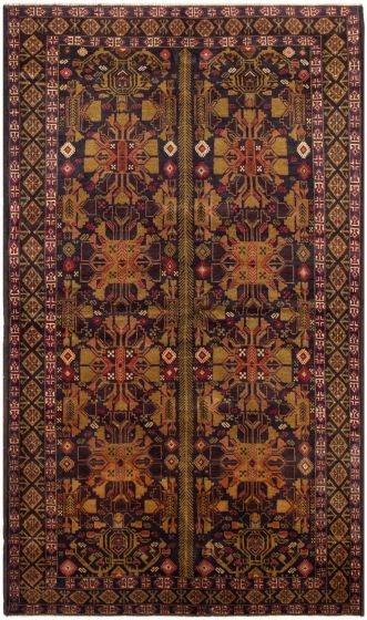Bordered  Tribal Blue Area rug 5x8 Afghan Hand-knotted 298036