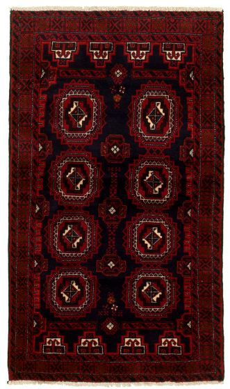 Bordered  Tribal Blue Area rug 3x5 Afghan Hand-knotted 334174