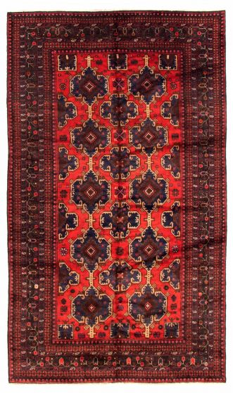 Bordered  Tribal Red Area rug 6x9 Afghan Hand-knotted 348513