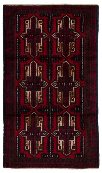 Bordered  Tribal Red Area rug 3x5 Afghan Hand-knotted 360603