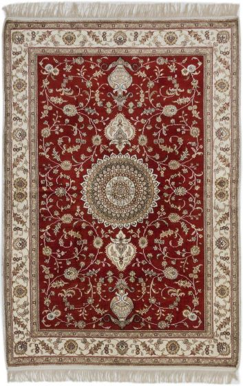 Traditional Orange Area rug 3x5 Chinese Hand-knotted 189942